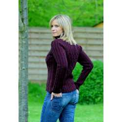 Fisherman - Ribbed polo neck, cross cabled chest