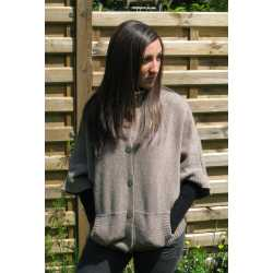 Cardigan larges manches chauve-souris laine vierge et alpaga