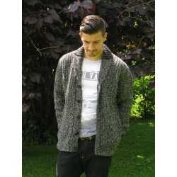 Chunky ribbed, 2 tone shawl collar cardigan, 100% virgin wool
