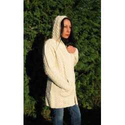 Hooded coat 100% merino wool