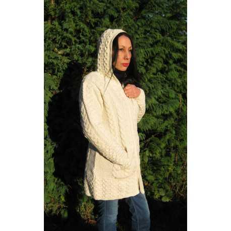Manteau à capuche 100 % laine mérinos