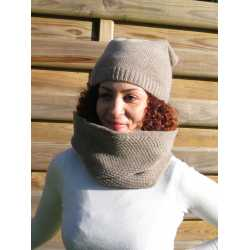 Honeycomb stitch loop scarf, virgin wool / alpaga