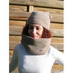Honeycomb stitch loop scarf, virgin wool / alpaga
