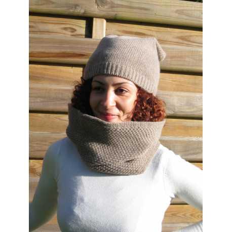 Écharpe tube en laine vierge et alpaga