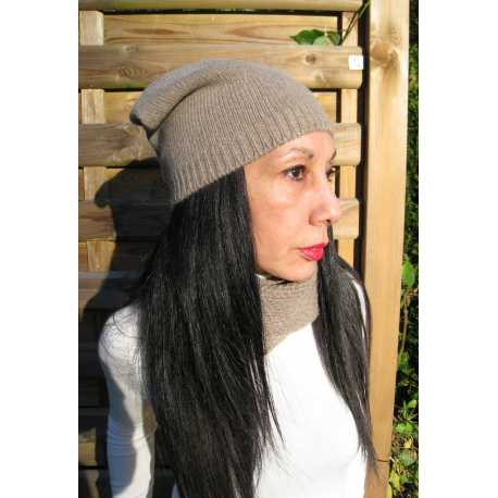 Slouchy beanie hat, virgin wool and alpaca