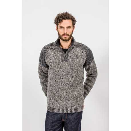 Zip neck raglan sweater, 100% pure new wool