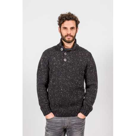 Pull col boutonné, 100 % laine vierge Donegal