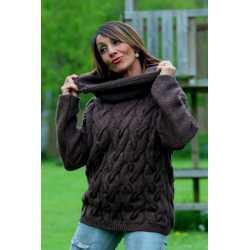 Pull à col capuche 100 % laine vierge extra-fine