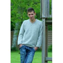 V neck sweater, 100% Donegal virgin wool